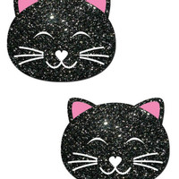 KITTY CAT: HAPPY IN BLACK GLITTER CAT NIPPLE PASTIES