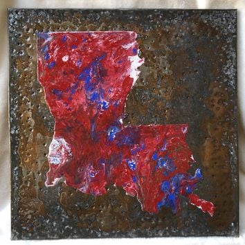 Louisiana State Sign Wall Hanging Home Decor Made with Sheet Metal, Wood, Paint, and Hanging Hook ~ Red White Blue ~ Free Shipping