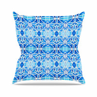 "Art Love Passion ""Blue Diamonds"" Blue Aqua Outdoor Throw Pillow"