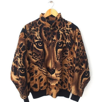 BIG SALE 25% Vintage TIGER Lion All Over Print Royalty Baroque Medusa Style Coat Zipper Jacket Sukajan Size L