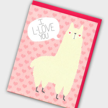 Funny Llama Valentine's Day Card - Llama Card - Valentines Day Card - Cute Valentine - Animal Valentine - I Love You Card - Valentine Card