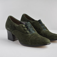 Vintage Women's Green Suede Heels - Marquise Shoes