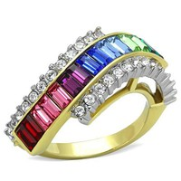 Gold & Silver Multi Color Crystal Stainless Steel Ring