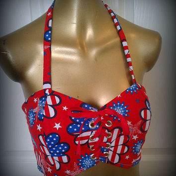 Corset,4th of july clothes,4th of july tank top, rave raver tutu, gogo dancer, raver bra, rave corset, red white and blue