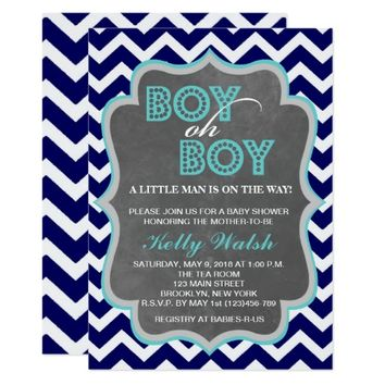 Boy Oh Boy Chalkboard Chevron Baby Shower Invite