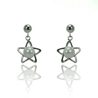Sterling Silver Rhodium Plated Open Start Earrings