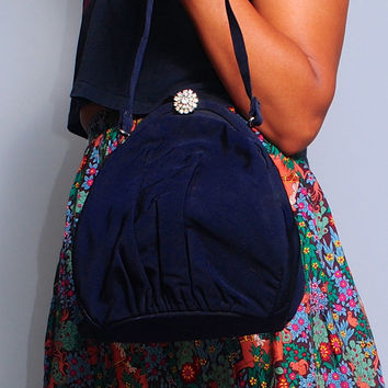 Vintage 1940s 50s GDK navy rhinestone clasp dome shaped evening bag with satin lining