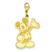 Gold-plated SS Disney Waving Mickey Lobster Clasp Charm