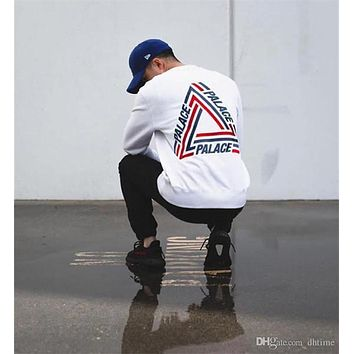 Original 2017SS PALACE TRI-CRIB CREW COLORED TRIANGLE LOGO Round Collar Skateboards Hoodies Men Women Hip Hop Sweatshirt White H