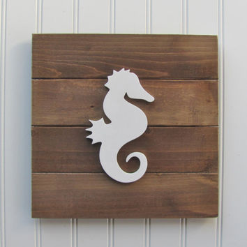 Rustic, Seahorse, Nautical, Nursery Wall Decor, Nautical Nursery, Nursery Decor, Nautical Decor, Nautical Art, Boys Room, Pallet Board