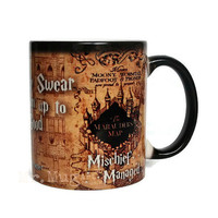 Harry Potter Mug, Color Changing Mug, Mug, Coffee Mug, Marauders Map, Magic Mug, Hogwarts, Marauder's Map, Harry Potter, Mischeif Managed