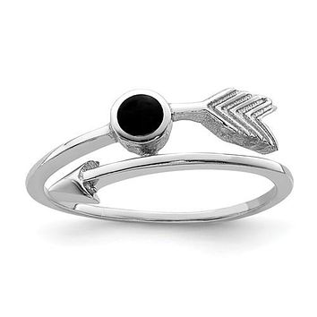 Sterling Silver Black Onyx Arrow Ring
