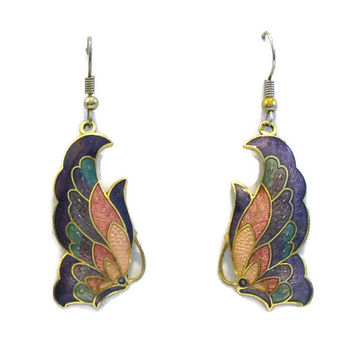 Vintage Butterfly Earrings Enamel Butterfly Earrings Cloisonne Butterfly Earrings
