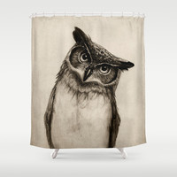 Owl Sketch Shower Curtain by Isaiah K. Stephens