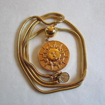 80s Anne Klein II Pendant Necklace Vintage Gold Tone Sunburst 1980s Crescent Moon Round Medallion Long Snake Chain