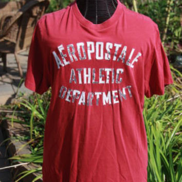 Men's Graphic Tee T-Shirt Aeropostale Areo Sewn On Letters Red Size XL