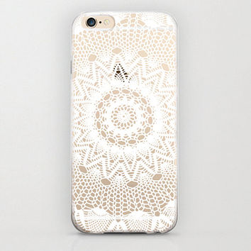Hippie iPhone 6 Plastic Case Cover Hard Shell Durable Protective Stylish Case Mandala Pattern Print White and Transparent Case iPhone 6