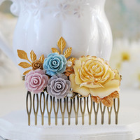 Bridal Hair Comb, Wedding Hair Accessory, Large Floral Hair Comb, Gold Leaf Branch, Powder Blue, Mauve, Lilac Ivory Cream Rose Hair Comb