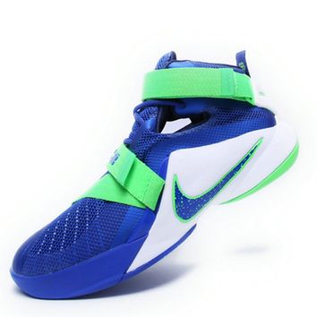 Purchase 2018 Nike LeBron Zoom Soldier 9 Sprite Royal White Poison Green Strike 749417 441 Brand sneaker