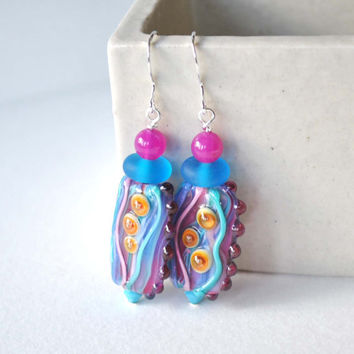 Abstract Earrings, Pink Blue Earrings, Lampwork Glass Earrings, Large Glass Bead Earrings