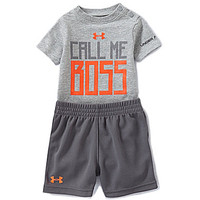 "Under Armour Newborn-12 Months ""Call Me Boss"" Bodysuit & Shorts Set"