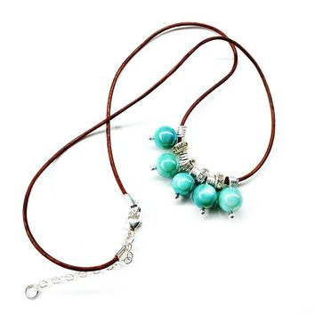 Silver Green Blue Bead Charm Leather Necklace