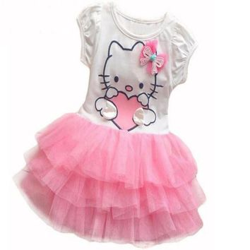Infant Baby Girls Cute Hello Kitty Cat Short Sleeve Tutu Dress With Bow Kids Cotton Dresses Children Summer Clothing Vestidos