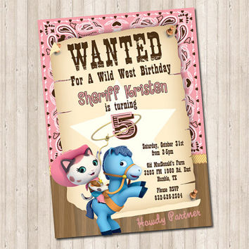 Sheriff Callie Wild West Wanted Birthday Party Invitation
