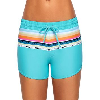 Striped Light Blue Drawstring Board Shorts (18-20) 2X