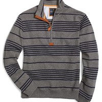 Stripe Half-Zip with Leather Trim - Brooks Brothers