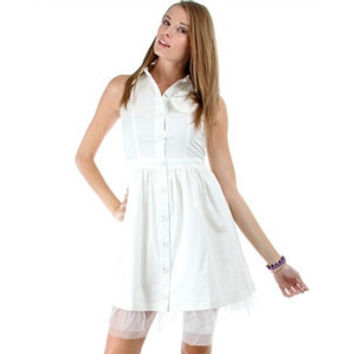 Button-Up Collared Dress With Tool Slip
