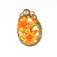 Adjustable Ring Day Lily set in Brass Tone with Rhinestones 1950s Era Vintage