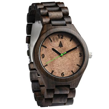 All Wood Watch // All Ebony Walnut Burl Green