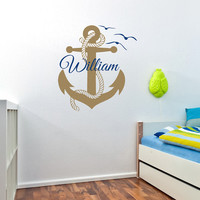 Anchor Wall Decal Boys Personalized Name Wall Decals Murals Nautical Anchor Nursery Decor- Nautical Bedroom Kids Boys Room Home Decor 0078