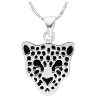18K White Gold Plated Leopard Pendant Necklace