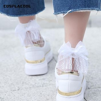 New Fashion Lace bowknot Hollow Out low Socks Popular Chic Thin Bow Fishnet Socks Women Punk Cool Female Mesh Meias Females