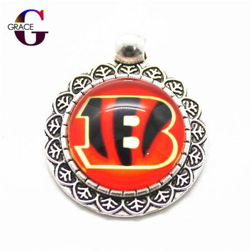 10pcs Fashion Cincinnati Bengals Football Team Sports Hanging Dangle Charms Fit DIY Necklace Pendant Bracelet For Women Jewelry