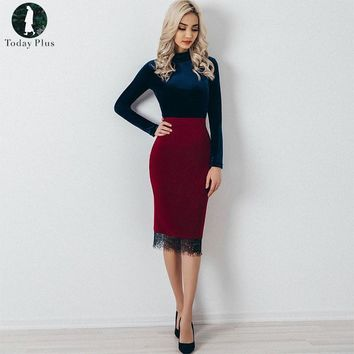 2017 Fashion Autumn Summer Women Short Skirts Ladies Sexy High Waist Patchwork Lace Pencil Skirt Wine Red Knee-Length Skirts
