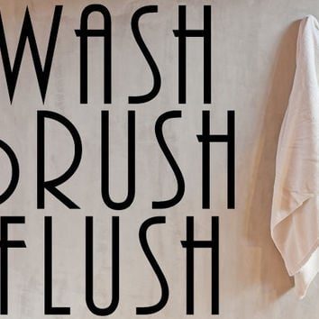 Wash Brush Flush Vinyl Wall Decal, Bathroom Wall Decal