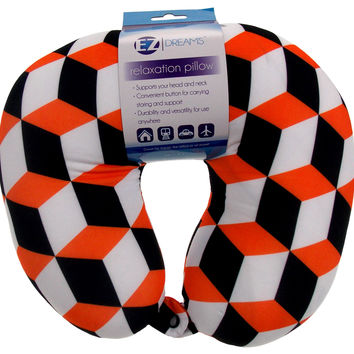Neck Support Air Car Travel Pillow Orange Black Geometric Microbeads Relaxation