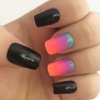 Ombre Fake Nails, Bright Nail Polish, Black Nail Polish, False Nails, Glue On Nails, Press On Nails, Nail Decals, Acrylic Nails, Nail Art