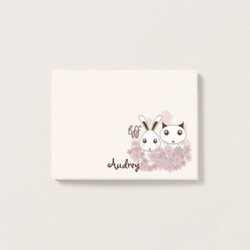 Cute Animal Cartoon Girl Friendship Kids Name Post-it Notes