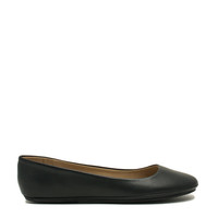 Well-Rounded Faux Leather Ballet Flats