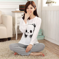 New autumn winter long-sleeve diamond Rhinestone women sleepwear pajamas Female animals pijama sets girls' cotton sets G0369