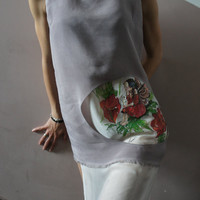 "Silk Tunic  Top ""Poppy Fairy"" Originally Hand Painted OOAK"