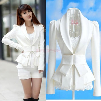 Korea Stylish Womens Career OL White Slim Suit Coats Jackets Tops Bowknot Blazer 7327