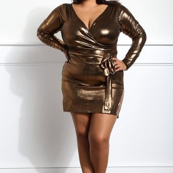 metallic Evening Party  Plus Size Bodycon Dress