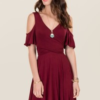 Uma Cold Shoulder Wrap Dress