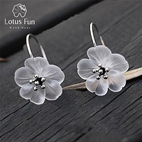 Real 925 Sterling Silver Handmade Natural Designer Fine Jewelry Flower in the Rain Fashion Drop Earrings for Women