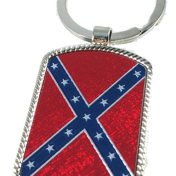 Rebel Flag Shiny Metal Keychain Confederate Southern Pride Souvenir Gift